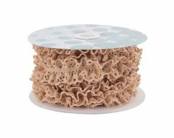 Elastic cotton lace 24 mm powder
