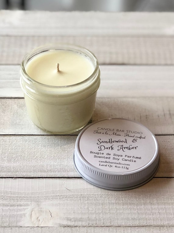 Sandalwood and Dark Amber Soy Candle (small)