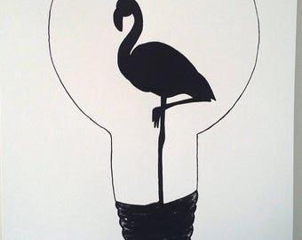 Affiche Illustration Noir Et Blanc Ampoule Etsy