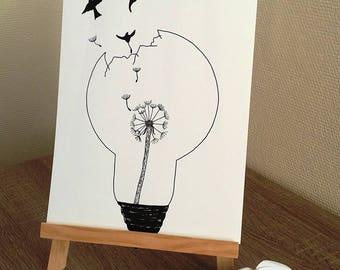 Affiche Illustration Noir Et Blanc Ampoule Pissenlit Etsy