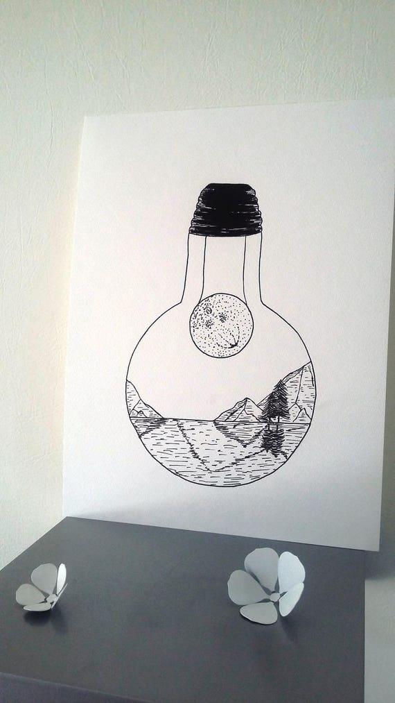 Affiche Illustration Noir Et Blanc Ampoule Dans L Ombre De La Lune