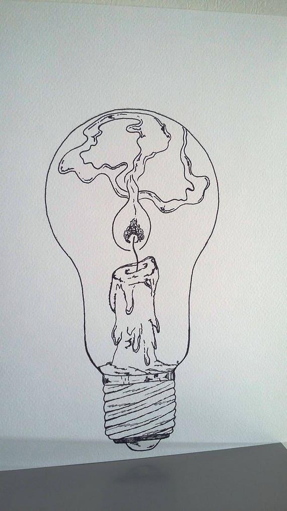 Affiche Illustration Noir Et Blanc Ampoule Tenir Une Lampe Allumée
