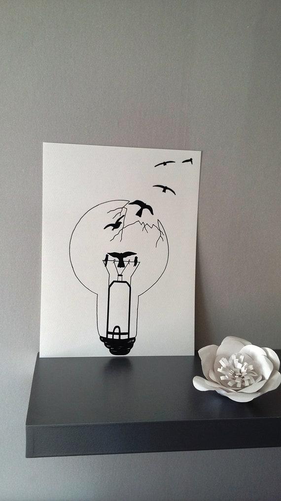 Affiche Illustration Noir Et Blanc Ampoule Liberté Chérie