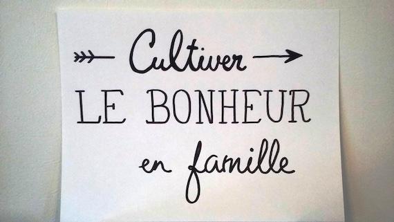 Affiche Citation Cultiver Le Bonheur En Famille