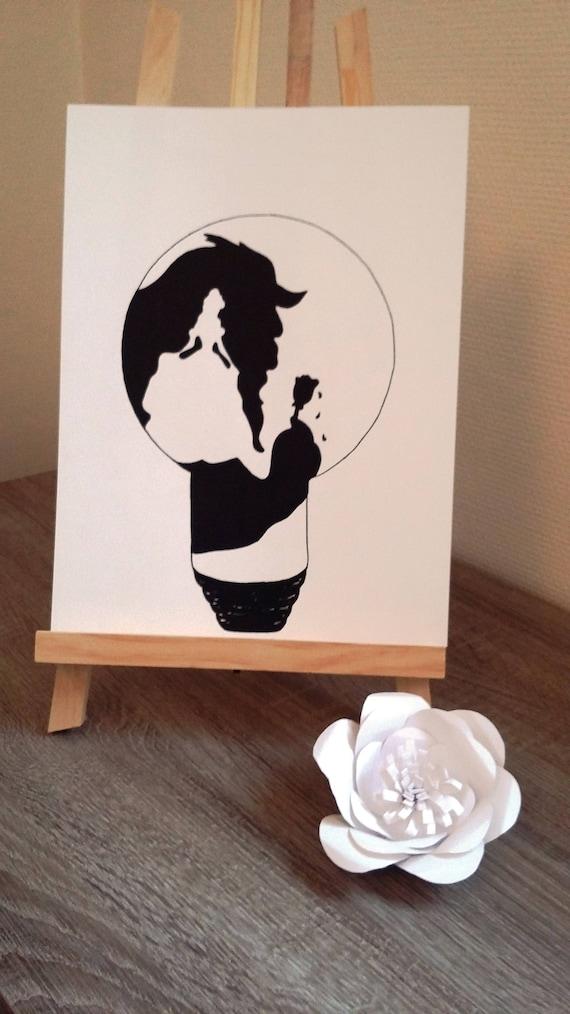 Affiche Illustration Noir Et Blanc Ampoule La Belle Et La Bête