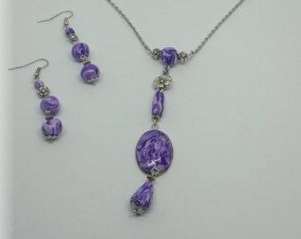 Purple Haze - Parure necklace and earrings