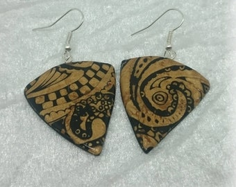 Black and gold - baroque composition pendants earrings