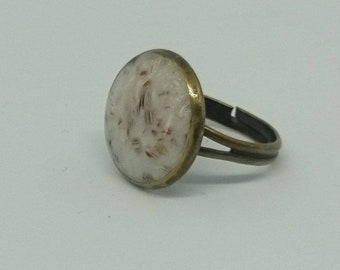 Ring adjustable 17 mm - inlays in Pearl on bronze effect