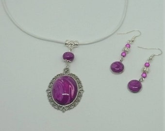 Purple soft composition - Parure necklace and earrings