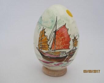 oeuf d'oie peint à l'acrylique:jonque vietnamienne