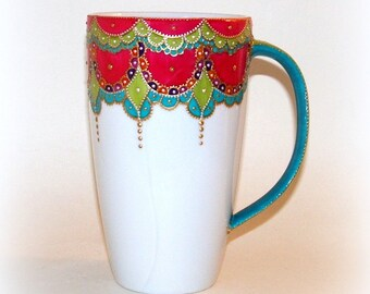 Mug XXL/large mug / jumbo mug multicolor 60cl / porcelain / painted by hand/mug Bohemian chic/mug mug/American made
