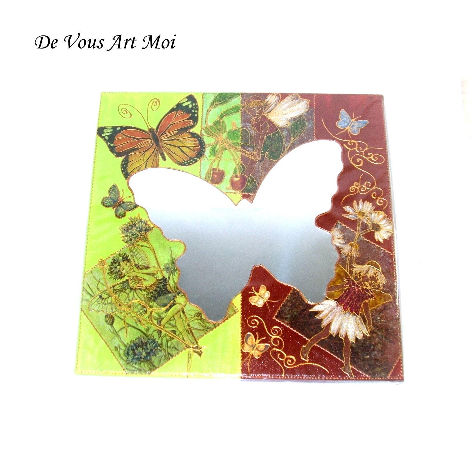 Miroir papillon sur châssis entoilé,petit tableau fée ...
