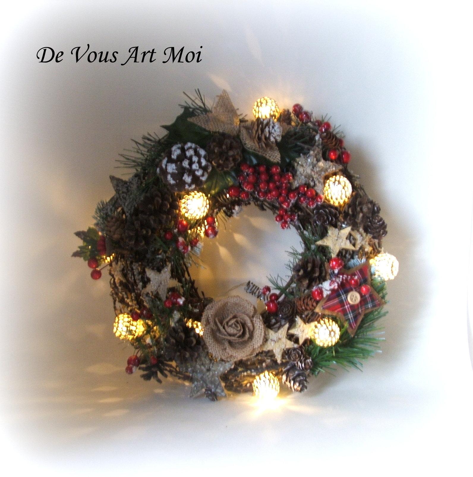 Couronne De Porte Noel Design couronne porte noël lumineuse,couronne noël artisanale,fait