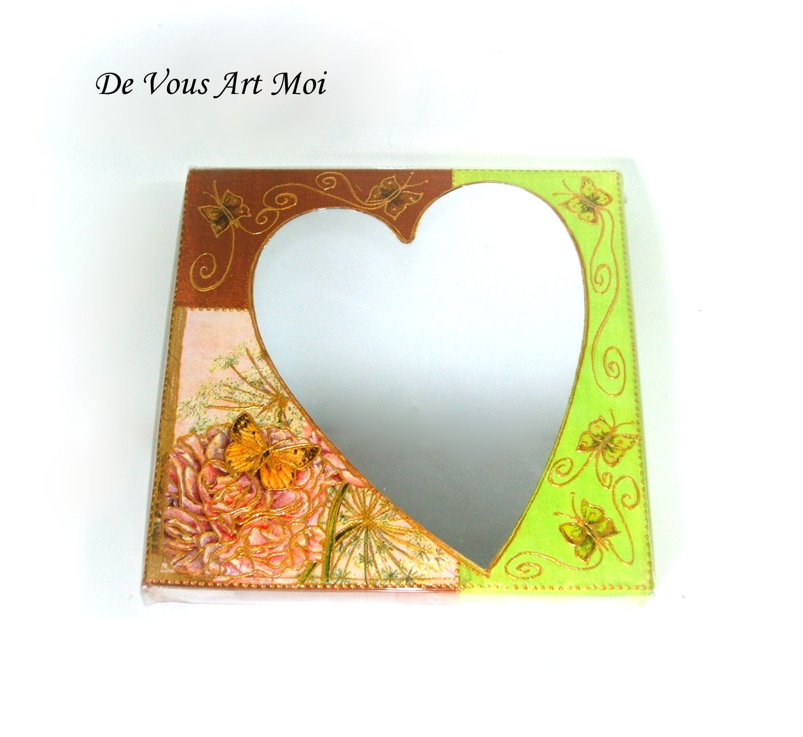 Miroir Coeur sur Toile,petit tableau coeur et papillon,fait ...