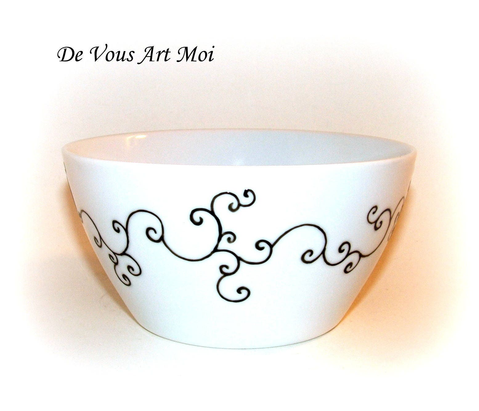 bol chat peint main bol en porcelaine fait main couple de. Black Bedroom Furniture Sets. Home Design Ideas