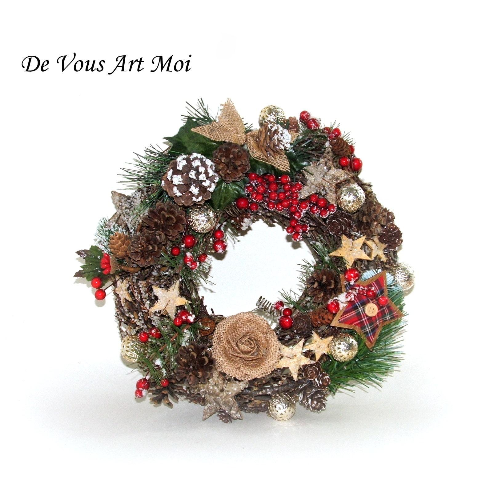 Deco Noel En Bois Naturel couronne porte noël lumineuse,couronne noël artisanale,fait