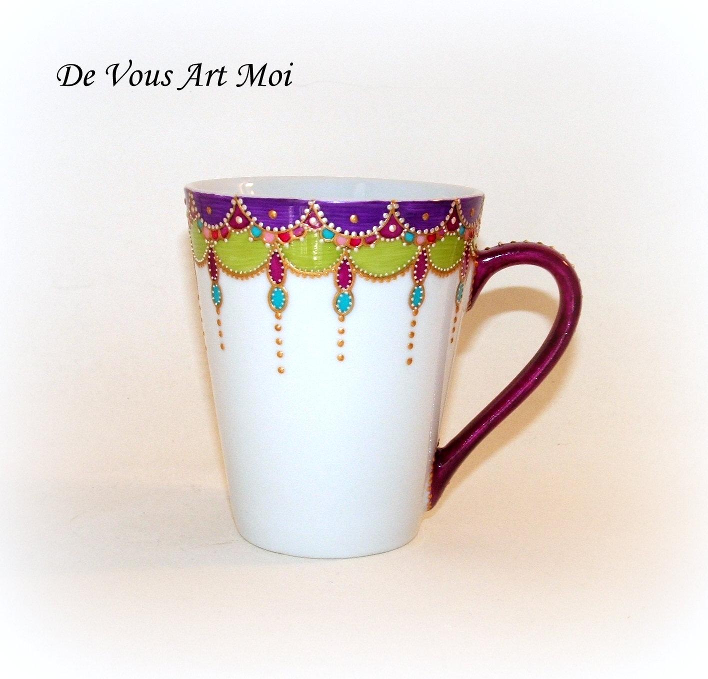 Main Femme en Femme Colorée Bohème mug Fait Porcelaine Mug tasse OkXN80ZnwP