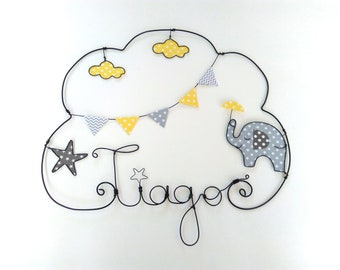 "Name personalized wire, wall decor for child's room, ""elephant and umbrella babyfan collection"""