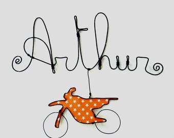 "Name personalized wire, wall decor for child's room, ""Motorcycle"""