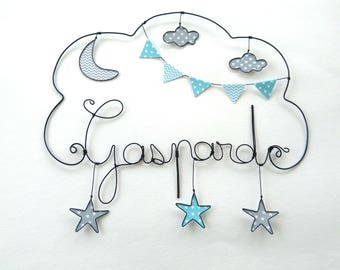 "Name personalized wire, wall decor for child's room decor cloud ""under the starry moon walk"""
