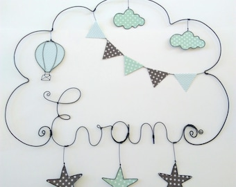 """Initials personalized wire, wall decor for child's room,""Hot air balloon with stars""model 45 * 50 CM"""