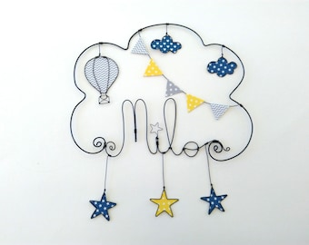 "Name wire customizable ""starry sky Montgolfier"" wall decor for child's room"