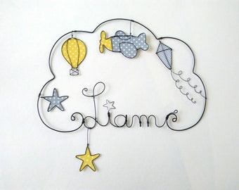 "Name personalized wire, wall decor for child's room, ""airplane, balloon, kite"""