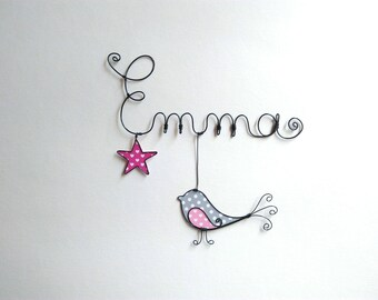 "Name personalized wire, wall decor for child's room, ""a bird under the Star"""