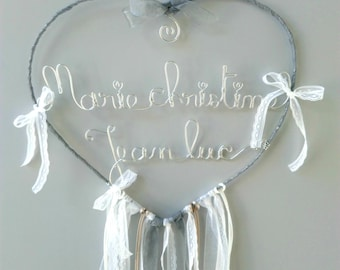 """Name wire customizable, catch-dreams-made, wall decor, decorative knitting """"duo name heart"""""""
