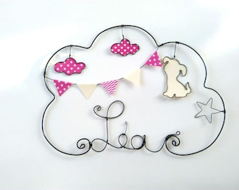 """Adorable dog"" personalized wire name wall decor for child's room"