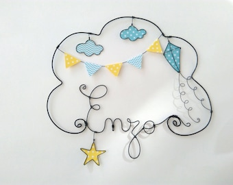 "Wire name customizable cloud ""A kite in the middle of the clouds"" wall decor for child's room"