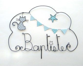 "Wire name customizable cloud ""cat O'MALLET"" wall decor for child's room"