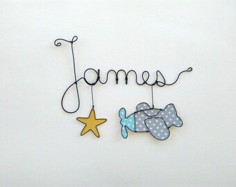"Name personalized wire, wall decor for child's room, ""my plane"""
