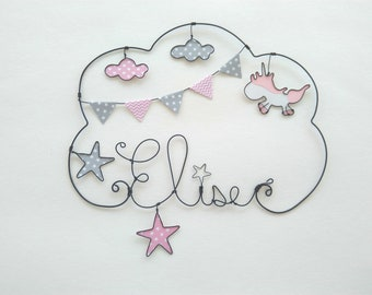 "Customizable ""Unicorn in the clouds"" wire name wall decor for child's room"