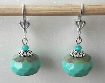 Lagoon blue Czech glass Pearl Earrings