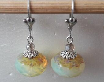 Opal joquille transparent Czech glass Pearl Earrings
