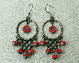 Earrings pearls of Bohemia and red flowers