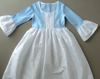 Princess dress in taffeta, princess disguise, blue princess dress, child costume, princess disguise, dress, taffeta