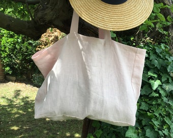 Large linen beach bag tote bag