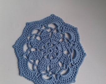 vintage sky blue crochet doily