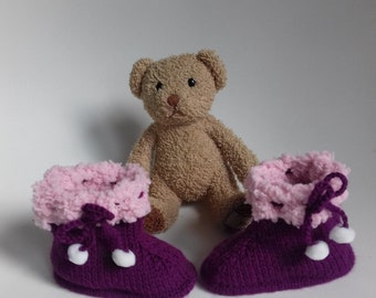 1 pair of plum and pink slippers for baby