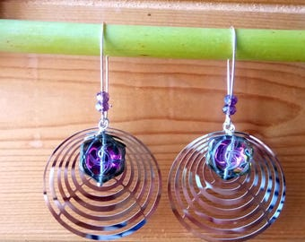 Earrings purple print