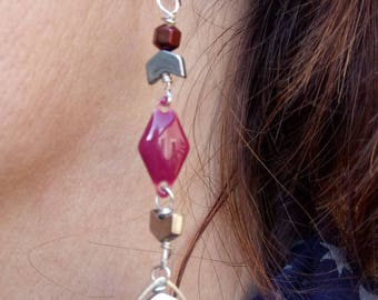 Dark raspberry sequin earrings