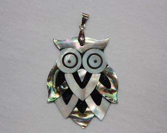 Mosaic mother of Pearl OWL pendant