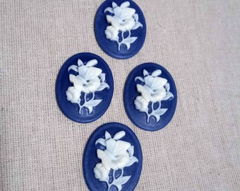 1 blue butterfly cameo bouquet of flowers