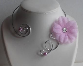 open collar wedding dress maid of honor/rose/pink/necklace Flower necklace Flower necklace / weddings/pink necklace aluminum jewelry