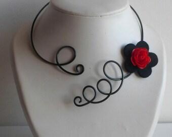 2086c89970f29 parure collier boucles oreilles roses rouges,collier ras de cou noir et  rouge bijoux cadeaux pour femmes