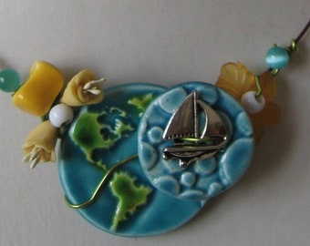 "Summertime necklace  "" Looks like vacation :) "" made of ceramic ,beads and jewelry wire"