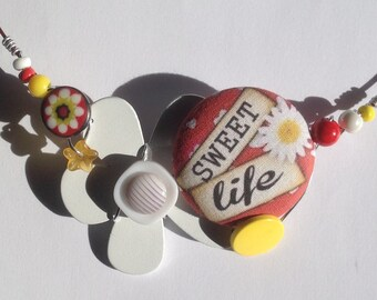 Summertime necklace chocker  Sweet Life fabric covered button