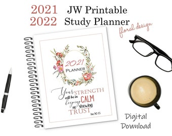 JW Printable Study and Service Planners - Floral